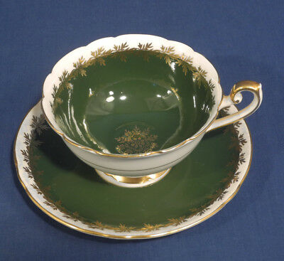 Shelley Fine Bone China Dark Green w/ Gold Leaf Design Tea Cup and + Saucer Set