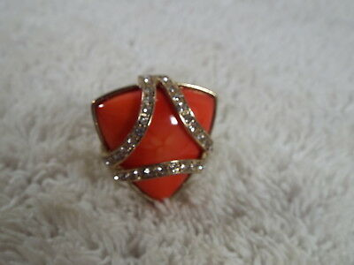 Goldtone Rhinestone Orange Acrylic Cabochon Ring - Adjustable Size 6-up (C57)