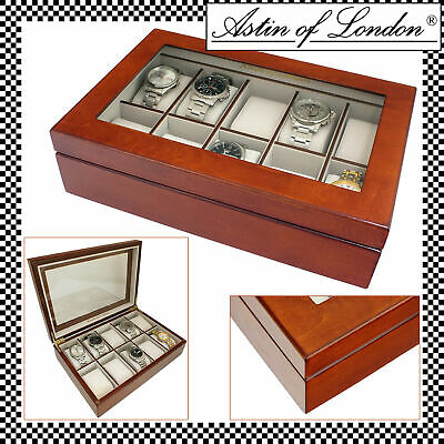 Astin Of London® Luxury Walnut Wood 10 Watch Display Case & Storage Box Watchbox