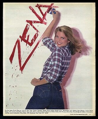 1979 Christie Brinkley photo Zena blue jeans vintage print ad