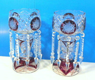 """2 VICTORIAN RED to Clear CZECH Bohemian 13"""" MANTLE LUSTERS w 6"""" SPEAR PRISMS"""