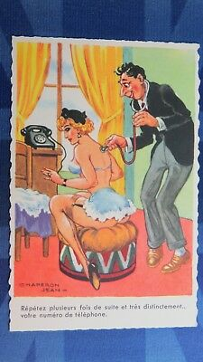 Risque Comic Postcard 1950s Boobs Nylons Seamed Stockings Garter Belt DOCTOR