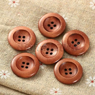 50pcs Set Coffee 4 Holes Wood Home Craft Sewing Scrapbooking Buttons 25mm Useful