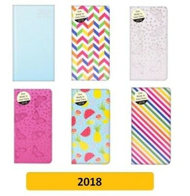2018 SLIM Diary/Diaries - Week to View (School/Organiser) Design, Pattern 2