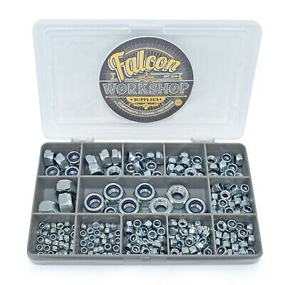 200 Assorted Piece Zinc Nyloc Nylon Insert Locking Nut Kit M3 M4 M5 M6 M8 M10