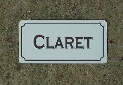 CLARET Metal Sign Vintage Style for Wine Cellar Cave or Collection or Kitchen