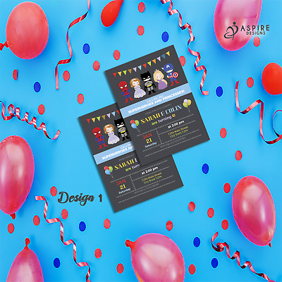 Personalised Kids Princess and Superhero Birthday Party Invitations & Thank You
