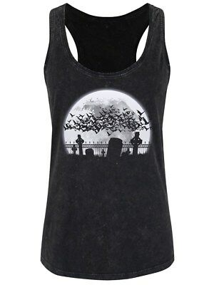 Bat Graveyard Women's Black Acid Wash Racerback Vest