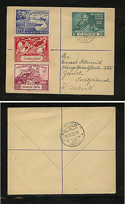 St  Kitts   95-98  UPU stamps on registered cover to Switzerland  1952    MS0123