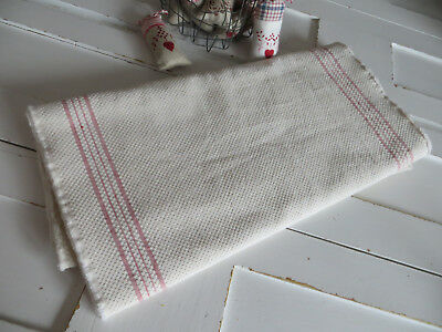Antique Farmers Kitchen Huck Linen Fabric   Red Stripes 4.4  Yards Unused 1920