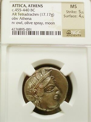 Rare Dated 455-440 Bc Athena / Owl Silver Tetradrachm Ms 5/5  4/5  Ngc- Luster!!