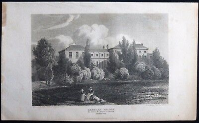 Bentley Priory House Stanmore Middlesex / London Antique Georgian Print 1815