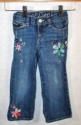GAP Girls Adjustable Waist Denim Blue Floral Jeans Pants Sz 3 Years