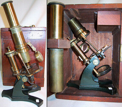 English Lacquered Student Microscope with Varley Stage