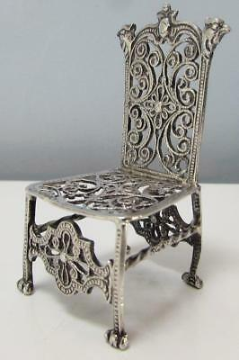 Finest Quality Antique English Sterling Silver Chair - Hallmarked 1900