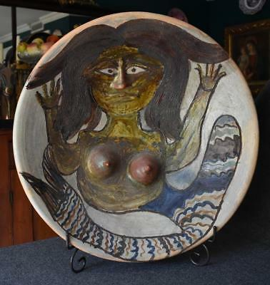 Fabulous One-Of-A-Kind Dolores Porras 3D Mermaid Monumental Art Pottery Bowl
