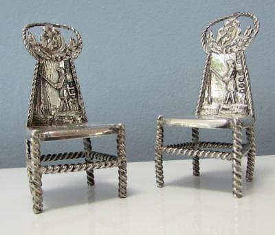 Pair of Finest Antique Sterling Silver Chairs - Hallmarked 1897 - BRYANY