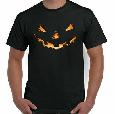 Pumpkin Smile Mens Funny Halloween Fancy Dress T-Shirt Outfit Spooky Scary Ghost