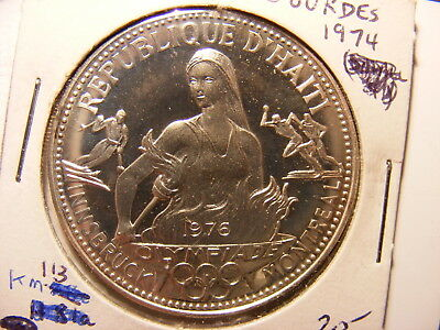 Haiti 50 Gourdes, 1974, 1976 Montreal Winter Olympiad, Silver Proof