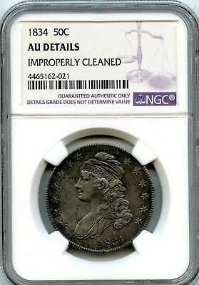 Wonderful 1834 NGC AU Details Improperly Cleaned 50C Coin RR257