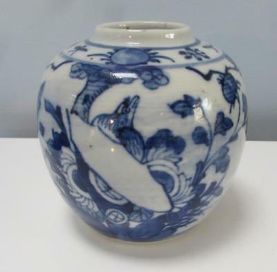 Antique Chinese 19thC Blue & White Jar - Kangxi Mark .Bird in Landscape