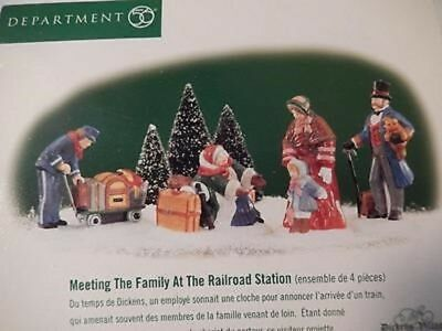 """Dept. 56 Dickens Village """"MEETING THE FAMILY AT THE RAILROAD STATION"""" ~ Set of 4"""