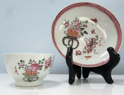 Lovely Chinese Antique 18thC Qianlong Tea Bowl and Saucer - Famille Rose