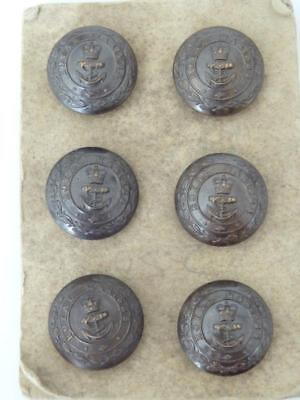 Vintage BUTTONS ROYAL MARINES SET OF SIX ON CARD GAUNT LONDON NEW OLD STOCK VGC