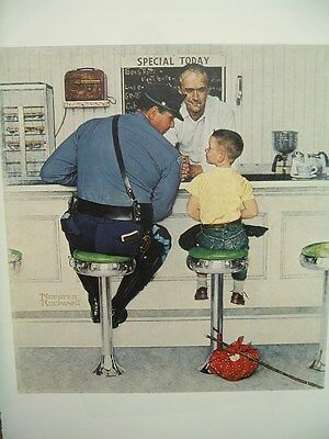 Norman Rockwell Poster Art Print The RUNAWAY soda fountain policeman