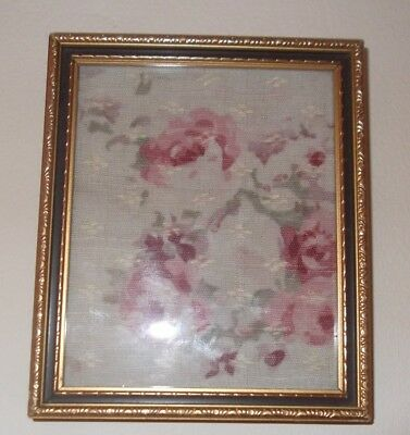 Beautiful Framed  Roses Design Antique Vintage French Fabric