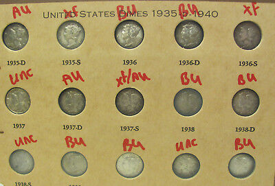 Mercury Dime Collection a Set of 15 Silver Dimes 1935 to 1940 XF - UNC- BU C050