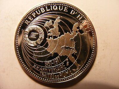 Haiti 50 Gourdes, 1977, Map of Europe on Glode, Silver Proof, Mintage just 364 !