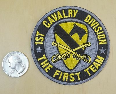 "1ST CALVARY DIVISION THE FIRST TEAM IRON-ON / SEW-ON EMBROIDERED PATCH 3""x 3"""