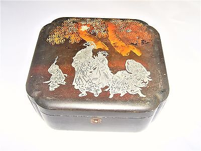 Antique Beautiful Old Chinese Lacquer Box Jewellery/tea Foreign Mark
