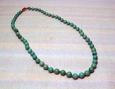 Vintage Chinese Natural Turquoise Beaded Necklace Silver Clasp**wow!!