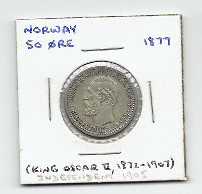 1877 Norway 50 Ore Silver