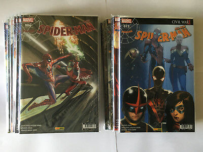 PANINI COMICS MARVEL LOT 9 ALL NEW SPIDER MAN N° 1 à 12 SERIE COMPLETE 2017 NEUF