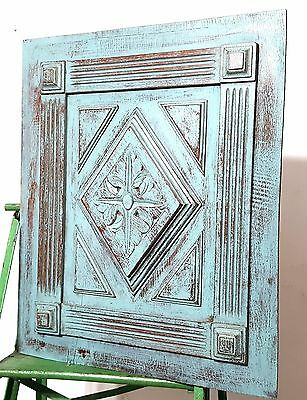 SHABBY CARVED WOOD PANEL ANTIQUE FRENCH GOTHIC ROSACE SALVAGED CARVING 19 th