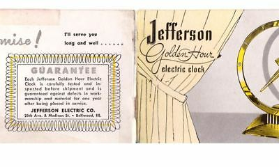 Jefferson Golden Hour Clock Owners Manual and Patent Suitable for Framing PDFs