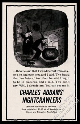 1957 Charles Addams witch art Nightcrawlers book release vintage print ad