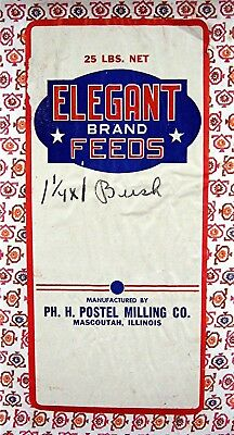 Elegant Brand Feeds 25# Cloth Bag Postel Milling Co Mascoutah Ill Old Stock
