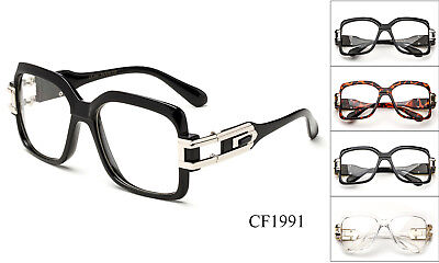 e1bbb9849889 Black Clear Lens Glasses Square Retro Sun Glasses Gold Metal Accents DMC  Hipster