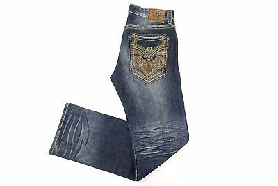 Affliction Blake Fleur Knoxvill Distressed Blue 32 Straight Leg Jeans Mens Nwt