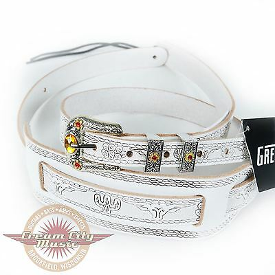 Brand New Gretsch Limited Vintage Tooled Leather Guitar Strap White w/ Jewel