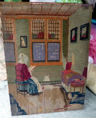 RARE Antique Vintage Needlepoint Picture FOLK ART WOMAN IN ROCKING CHAIR