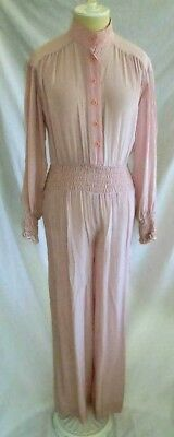 Jumpsuit Bill Haire Vintage 70s  Smocked Wide Leg Sexy Flowy Pink
