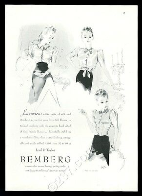 1939 Bemberg women's blouse 3 styles Lord & Taylor fashion vintage print ad