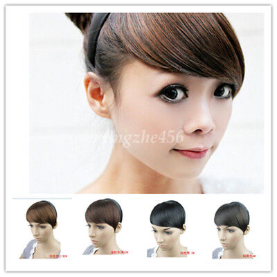 Womens Girls Long Side False Bangs Hairpiece Neat Fringe Clip On Hair Extension