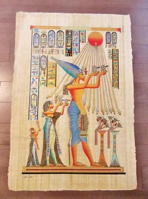 "XXL Huge Signed Handmade Papyrus Egyptian King Akhenaten Art Painting..38"" x 26"""