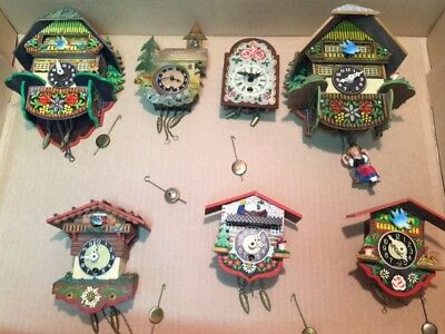 7 Vintage Black Forest Germany Miniature Wall Clocks 5 Animated Bouncing Girl